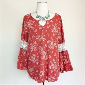 AUW Red Floral Lace Blouse Long Sleeve Size L. A